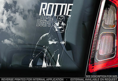 Rottweiler - Car Window Sticker - Rott Dog on Board Guard Sign Art Gift - TYP3