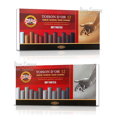 Pack of 12 round, soft, chalk pastels, Shades of Grey or Shades of Brown
