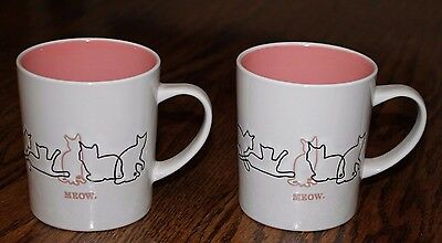 New! Set of 2 Mainstays 13 oz. Cat Meow Mug Cups, White with Pink Interior