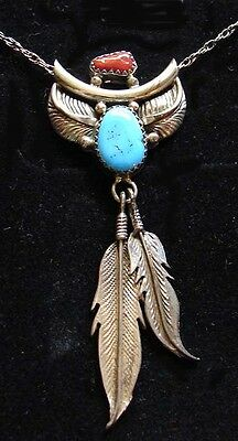 Native American Style Sterling Silver - Turquoise - Coral Necklace