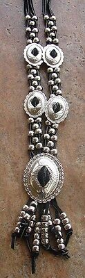 Native American Style Leather And Nickel Silver Concho Necklace