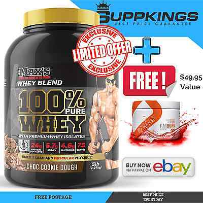 Maxs 100% Pure Whey Gold Standard Protein Powder 2.27Kg / 5Lb/ 75 Servings