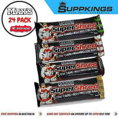 Max's Super Shred Protein Bars X 24 // Low Carb // High Protein// 4 Flavours