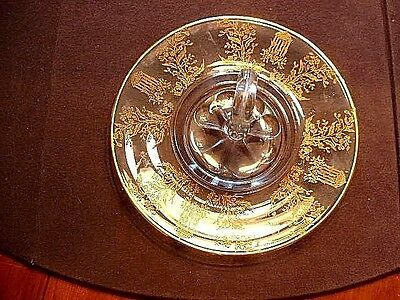 RARE Paden City Depression Gold Encrusted Swan Handled Tray In Gazebo Pattern