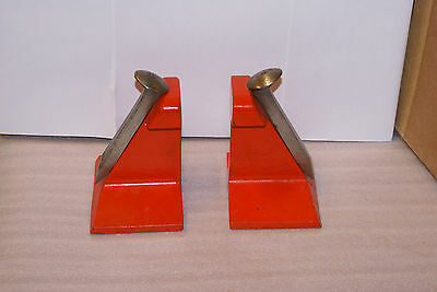 Vintage Railroad Authentic Track and Spike Bookends MCM Industrial