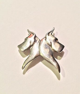 "Louise Peterson Pendant - Sterling Silver Cropped Great Dane ""Perfect Pair"""