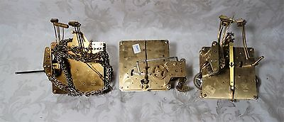 Lot 3 Vintage Franz Hermle Clock Movements 1151-050 1051-030A for parts repair