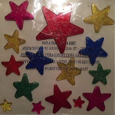 Glitter Window Stickers | Coloured Gel Various Sizes | Stick To Glass