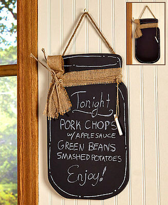 Mason Jar Kitchen Chalkboard Message Center Country Decor