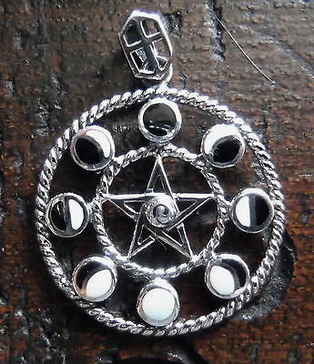 Solid Sterling Silver Enamel 8 Moon Phase Pentagram Pendant Wiccan Pagan Witch