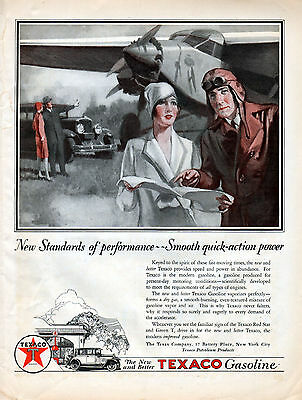 1928 Texaco Oil Ad --For These Fast Moving Times ---v87