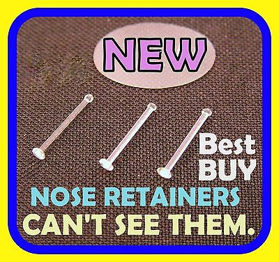 **LOOK** 6 Clear Small Nose Bone Pin Stud/Ring Retainers, 22g/0.6mm, EASY IN/OUT