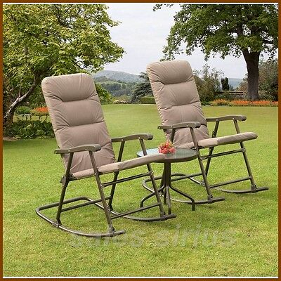 Garden Rocking Chairs Patio Rocker Seat Coffee Table Outdoor Lounger Bistro Set