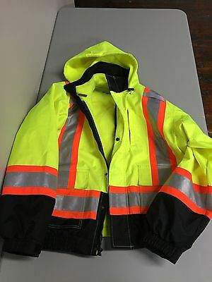 WORK KING S41311 Insulated Bomber Jacket, High Visability, Size XL #W9#