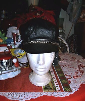Vintage Black Leather Motorcycle Cap/hat With Chain,brando Style-Adjustable