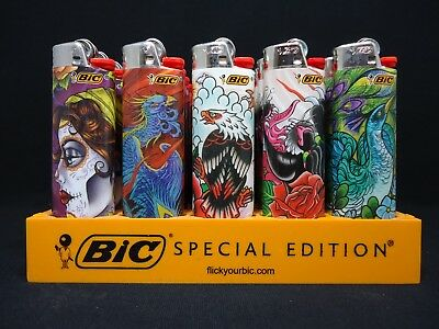 8 Bic Tattoo Lighters Day Of The Dead Bird Eagle Tiger Peacock Dragon Snake Rose