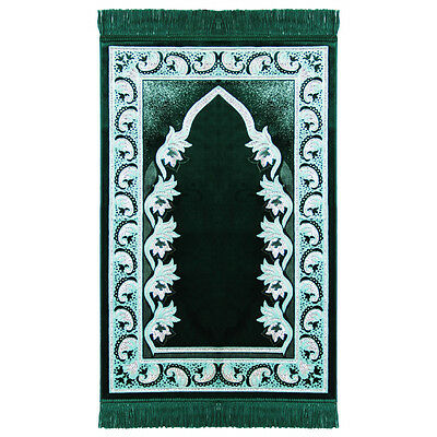 Muslim Prayer Rug 2.3' x 3.6' Green and White Color with Tassels #PM456