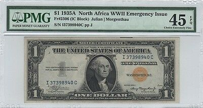Fr2306,1935A $1 N. AFRICA WWII EMERGENCY ISSUE (YELLOW SEAL) - PMG 45 C.E.F.,