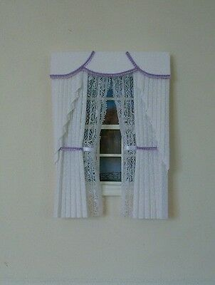Dollshouse Curtains White & Lilac  Swag With Tied Nets