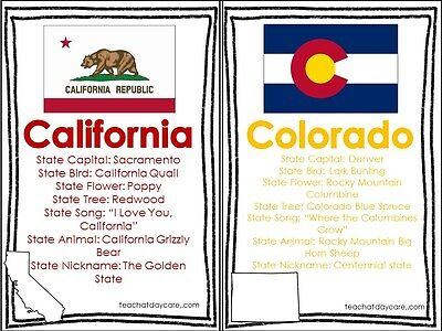 50 Laminated Multi-Color States Reference Classroom Signs. 8 inch by 5 inch Educ