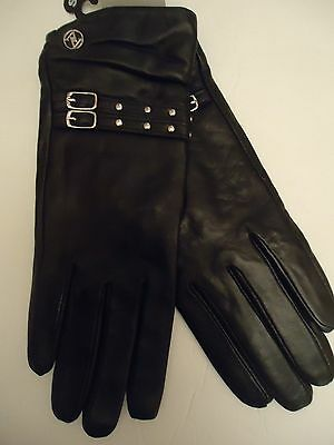 Adrienne Vittadini 100% Cashmere Lined, Genuine Leather Driving Gloves,Blk, S