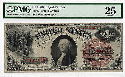 1880 $1 Legal Tender Note Fr.#30 Very Fine 25 PMG