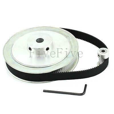 HTD 3M 120/15 Teeth Timing Pulley Belt Width 15mm Set Kit Reduction Ratio 8:1