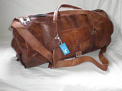 """Handmade Goat Leather 20"""" Duffel Overnight ROUND Bag DMR *Free Leather Care*"""