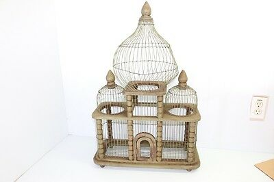 "Beautiful Large Wood & Metal Wire Bird Some House Cage Rustic Vintage 29"" Tall"