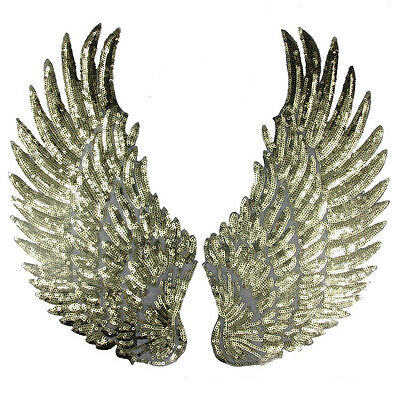 1pair Embroidered Sequin Large Wing Sew Iron on Patch Badge Cloth Applique DIY