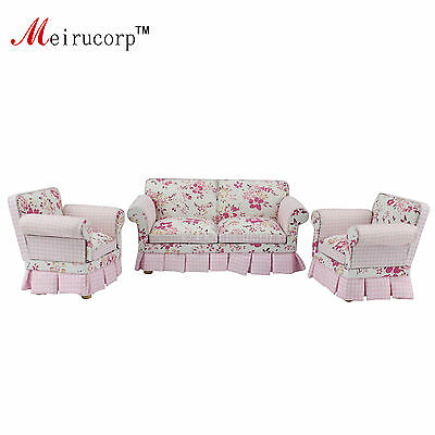 Dollhouse 1/12 scale miniature furniture Lovely Fabric Soft sofa and chairs set