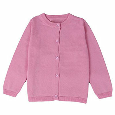 Little Girls Cute Crew Neck Button-down Solid Fine Knit Cardigan Sweaters