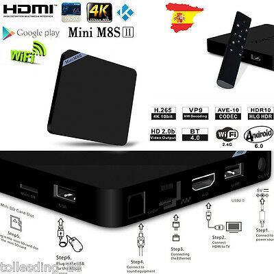 S905X TV BOX FHD 1080p KODI Android6.0 Reproductor Multimedia  2G/8G 2Ghz HDMI