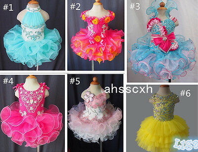 Hot Sale Toddler/Baby/Child/Kids Girl's Glitz Cupcake Pageant Dress 1--6T