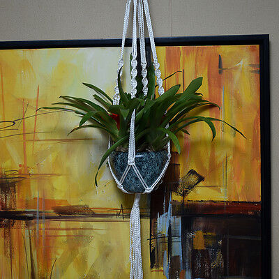 Handmade Macrame 40 Inch Plant Hanger Pot Holder 4 Leg Nylon Rope Bright White