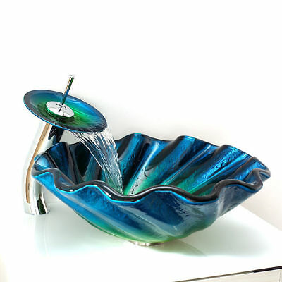 Modern Chrome Seashell Wave Tempered Glass Vessel Sink & Waterfall Faucet Set