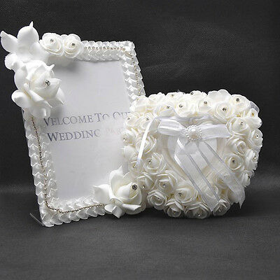 Romantic Pearl Rose Wedding Favors Heart Shaped Gift Ring Box Pillow Cush#2016