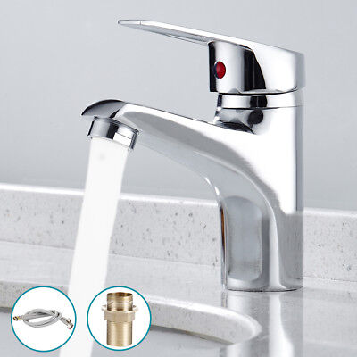 Single Lever Bathroom Basin Sink Mono Mixer Tap Chrome + Free Flexible Hose UK