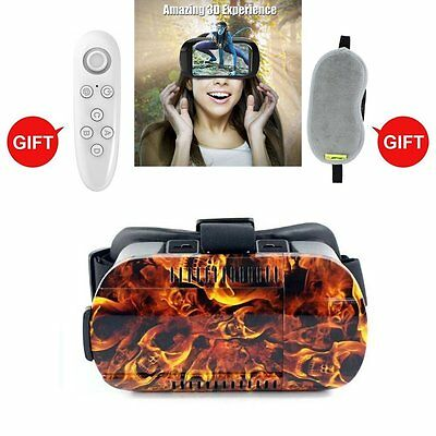 3D VR Skull Headset Glasses Virtual Reality with Remote controller for 4.7 to 6""