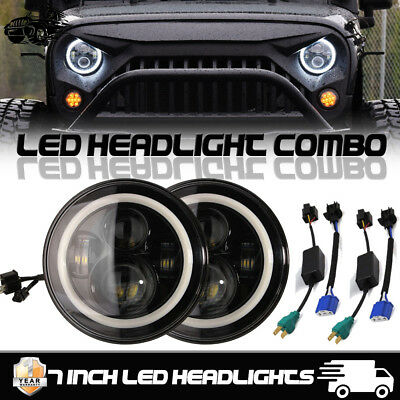 "2x 7"" Inch CREE LED Headlight Angel Eye Amber Halo DRL Jeep Wrangler JK TJ LJ"