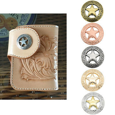 Hollow Out Western Star Saddle Conchos Buttons DIY Sewing Sew On Hand Craft Deco