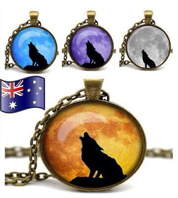 Howling Wolf Werewolf Full Moon Glass Cabochon Pendant Vintage Necklace Gift New
