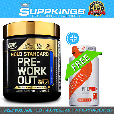 Optimum Nutrition Gold Standard Pre-Workout 30 Serve +Free Developt Prework