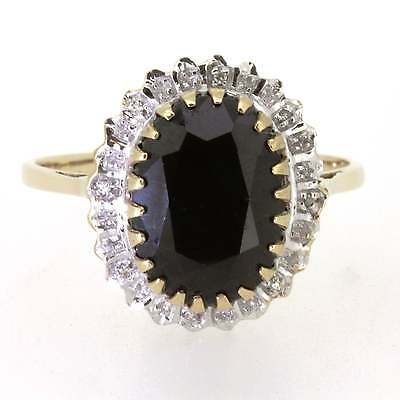 Ladies Hallmarked 9ct Yellow Gold Sapphire and Diamond Ring