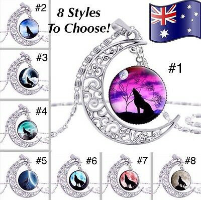 Howling Wolf Werewolf Glass Cabochon Pendant Silver Crescent Moon Necklace