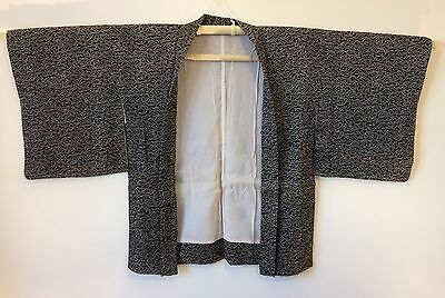 Authentic Japanese black Haori jacket for kimono, imported from Japan (M782)