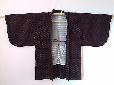 Authentic Japanese black & red haori jacket for kimono, with himo, good c.(M783)