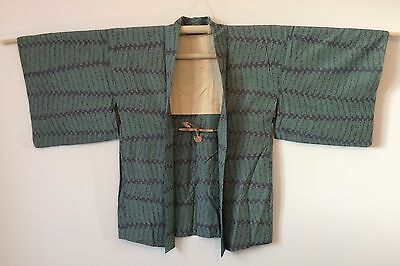 Authentic Japanese teal blue haori jacket for kimono, with himo (M784)