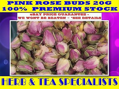 20Grams REAL DRIED PINK ROSE BUDS  ☆ rosa rugosa ☆ LOVE☆MAGICK ROMANCE FREE POST