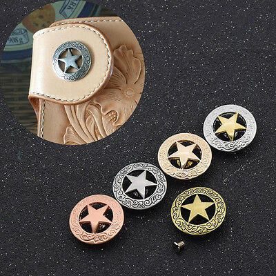 Western Conchos Star Saddle Belt Clothes Decoration Accessories Screw Back